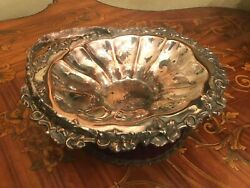Antique French Cobber Silver Plated Fruit Plate Bowl