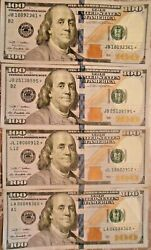 2009 Star 100 United States Federal Reserve Notes Lot Of Four Notes