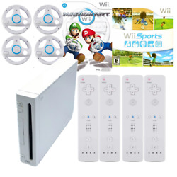 Nintendo Wii Video Game Console Bundle W/ Wii Sports And Mario Kart 4 Controllers