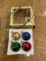 4 Vintage Glass Christmas Ornaments Decorated Ornaments Pyramid