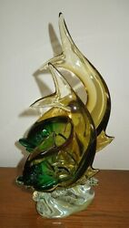 Large 13 Murano Art Glass Formia Sommerso Double Dolphins On Clear Waves Base