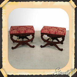 L21235 Pair Mahogany Scrolled Legs Tufted Upholstered Decorator Stools New