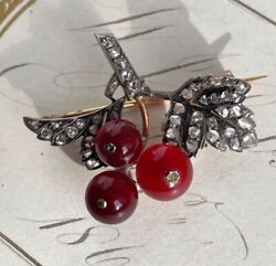 Antique 19th C French Red Currant / Gooseberry Brooch Pin