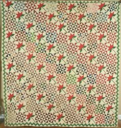 Museum Quality Vintage 1850and039s Peony And Broken Dishes Antique Quilt Zigzag Border