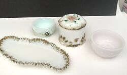 Antique Victorian Hand Painted Gold Gilt Milk Glass Lot Jewelry Powder Box Tray