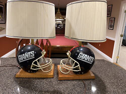 Vintage Ridell 1980's Matching New York Giants Helmet Lamps - Man Cave