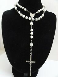 1800's Antique French Large Mother Of Pearl 59 Beads Rosary St Silver Cross