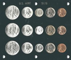1946 P-d-s U.s. Mint Set - 15 Brilliant Uncirculateed Coins In A Capital Holder