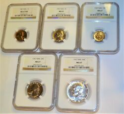 5 Coin Set 1967 Ngc Ms67 Sms Rd Penny, Nickel, Dime, Quarter, Kennedy Half