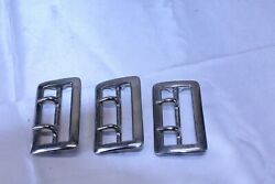 Lot Of 3 Belt Buckles Chrome Plated For Reenactment Uniform Leather Work