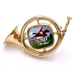 French Horn With Hunting Horseman 14k Yellow Gold Brooch