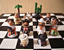 Mexican Theme Handmade Artisan Crafts Chess Board- Strategy Games-queenandrsquos Gambit