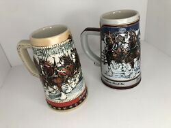 Budweiser Beer Stein Glasses 1988 1989 Collector Series Hand Crafted Christmas