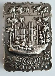 Antique Leonard And Wilson Coin Silver Castle Top Hand Etched Card Case 1850