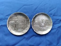 2 Wendell August Forge Usa Hammered Aluminum Coasters Small Plates Amish 4.5