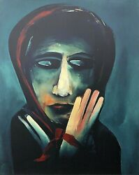 Charles Blackman The Red Scarf Large Signed Limited Edition Print 100cm X 80cm