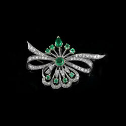 Christmas 1.20ct Natural Round Diamond 14k Solid White Gold Emerald Brooch