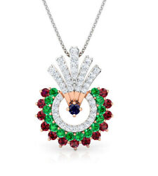 1.05ct Natural Round Diamond 14k Solid Rose Gold Ruby Emerald Sapphire Pendant