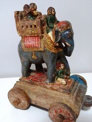 Antique Elephant Anglo Indian Sculpture Pull Toy Howdah Polychrome Folk Art Rare