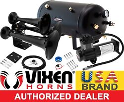 Train Horn Kit For Truck/car/pickup Loud System /5g Air Tank /200psi /3 Trumpets
