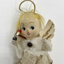 Vintage Chenille Paper Mache Angel Christmas Ornament Feather Hair