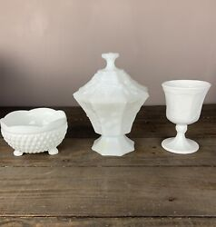 Vintage Milk Glass Candy Dishes And Wine Glass