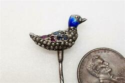 Cute Antique Silver Enamel Seed Pearl Sapphire And Ruby Duck Stickpin C1900