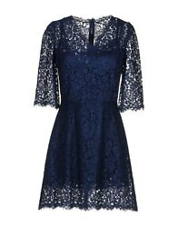Sale Nwt Dolce And Gabbana Blue Lace 3/4 Sleeve Short Dress It42
