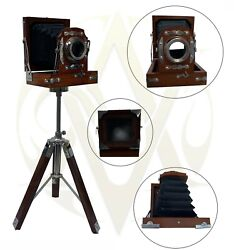 Old London Antique Wooden Cameras With Tripod Stand Desk Table Top Decorate Gift