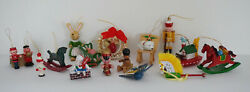 Vintage Wooden Christmas Tree Ornaments Lot Of 16 Animals Bottle Brush Wreath