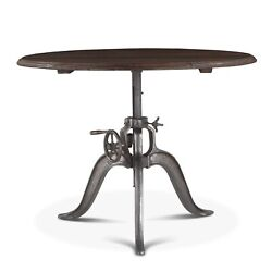 48 W Adjustable Dining Table Industrial Hand Crank Recycled Iron Reclaimed Teak