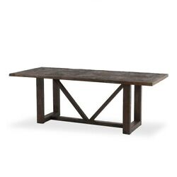 84 L Dining Table Old Barn Wood Solid Acacia Reclaimed Neem Wood Traditional