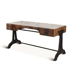 63 L Desk Inset Marble Stone Top Natural Wood Reclaimed Natural Iron Base
