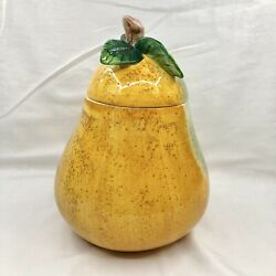 Vintage Cookie Jar Pear Motif 11 Tall Golden Yellow Jay Imports Canister New