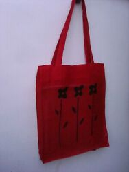 Handmade Red Linen Canvas Tote Bag. Beach Totes amp; Grocery Shopping NEW $14.50