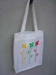 Handmade White flowers Linen Canvas Tote Bag Beach Totes amp; Grocery Shopping NEW $13.00