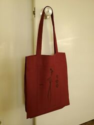 Handmade Maroon Linen Canvas Tote Bag. Beach Totes amp; Grocery Shopping NEW $14.50