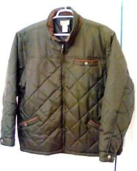 Scandia Woods Mens 2xl 3x Quilted Olive W Brown Corduroy Accents Hunting Jacket