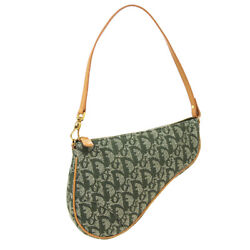 Christian Dior Trotter Pattern Saddle Hand Bag Pouch Mc0071 Green Canvas 34818