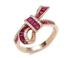 1.65ct Natural Round Diamond 14k Solid Rose Gold Ruby Cocktail Ring Size 7