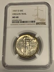 1937-d Oregon Trail 50c Ngc Ms 68 Early Silver Commemorative Half Dollar Toned
