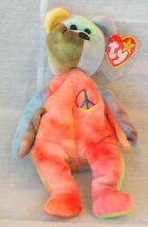 Ty Beanie Baby Peace Bear 1996 Retired Mint Condition With Rare Tag Errors Pvc P
