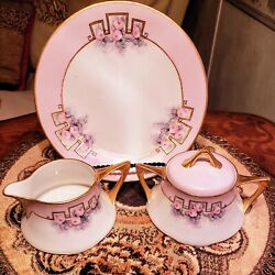 Antiquej.p.l. Limoges Francepink And Gold Giltcreamer, Sugar And 8 Lunch Plates