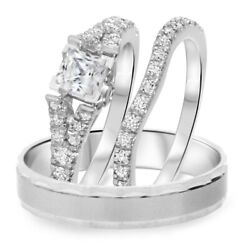 Diamond Trio Set His And Her Engagement Wedding Band Bridal Ring 14k White Gold