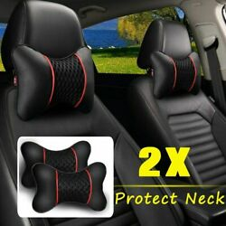 2pcs Pu Leather Knitted Car Pillows Decor Universal Pillow Safety Black Auto