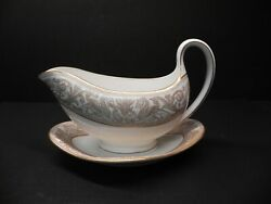 Florentine Gold Gold Dragons By Wedgwood Gravy Boat W Attached Under-plate