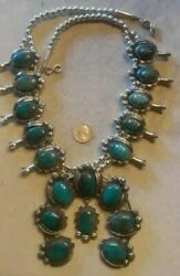 Squash Blossom Necklace Smoky Bisbee Turquoise Sterling Humongous 30 380g Rare