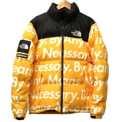 Auth Supreme / The Nuptse Any Means Down Jacket Yellow/black 0025
