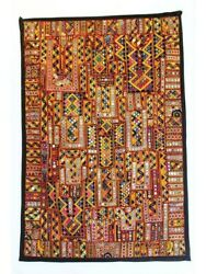 Vintage Gypsy Tapestry Kutchi Mirror Embroidered Patchwork Wall Hanging Handmade