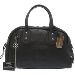 Authentic Boring Hand Bag Black Leather 0167